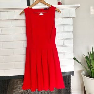 Red Scalloped Backless Dress